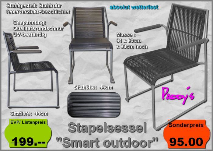 Stapelstuhl Smart outdoor+Lehnen