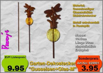 Gartenstecker Gußeisen+Glaskugel
