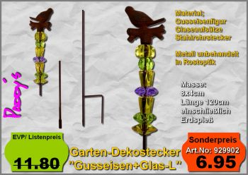Gartenstecker Gußeisen+Glasornament